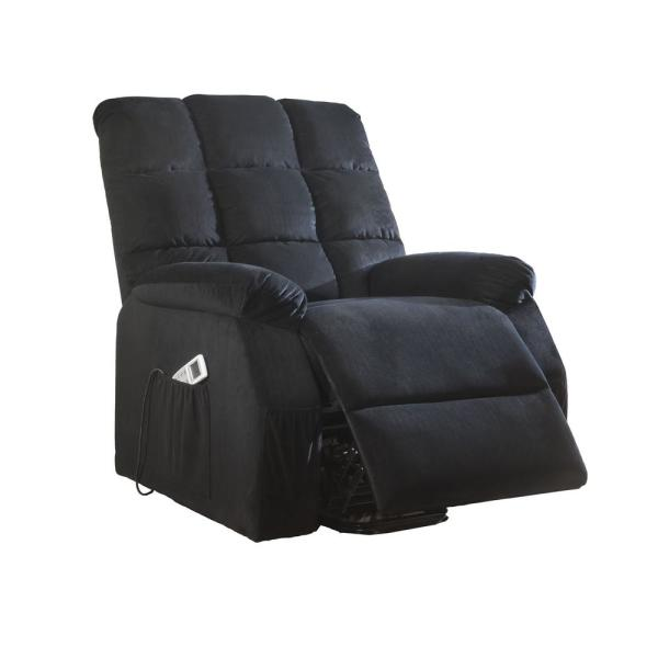 Acme Furniture Ipompea Black Velvet Recliner with Power Lift and Massage