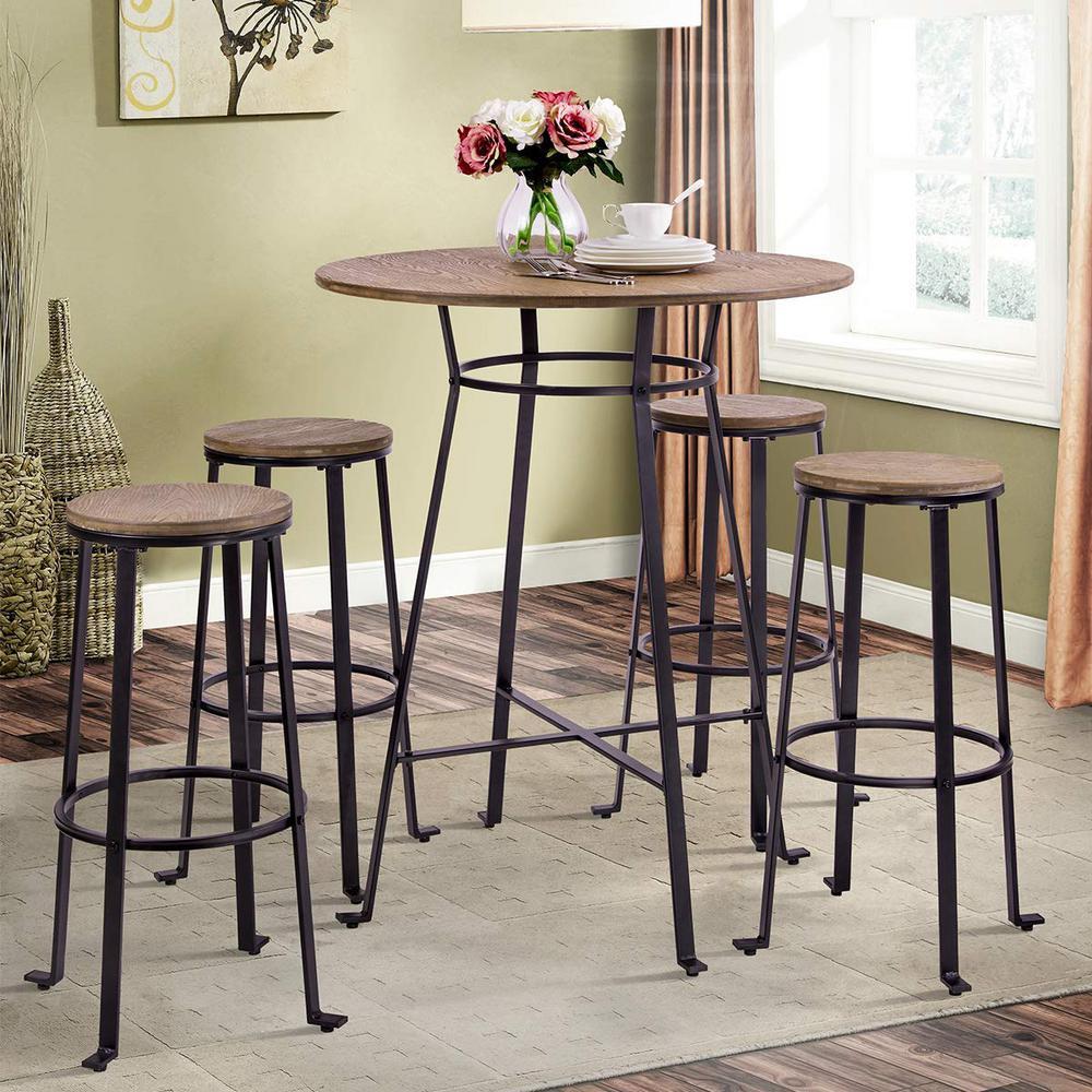 Retro Brown Metal Frame Round Bar Table