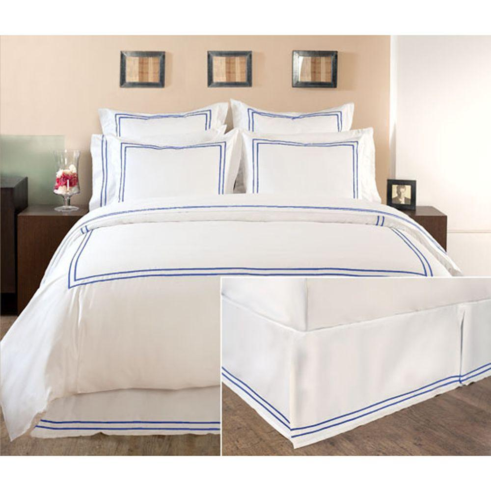 Home Decorators Collection Embroidered Lapis Lazuli Full Box-Pleat Bedskirt