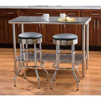 30 in. Chrome Swivel Cushioned Bar Stool
