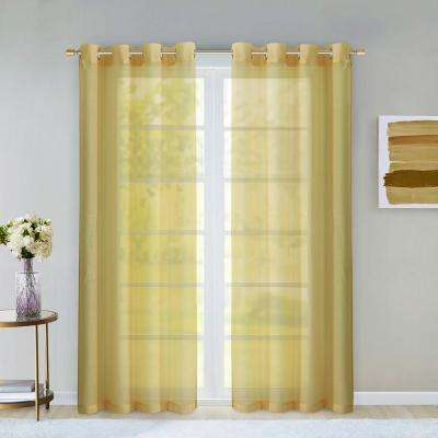 Malibu 55 in. W x 84 in. L Extra Wide Semi-Sheer Window Panel Pair in Gold (2-Pack)