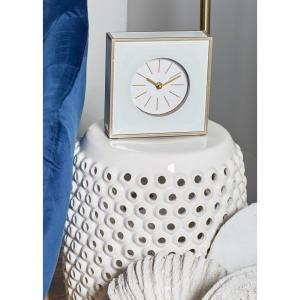 Multi-Colored Modern Table Clock with White, Gold and Brown Accents