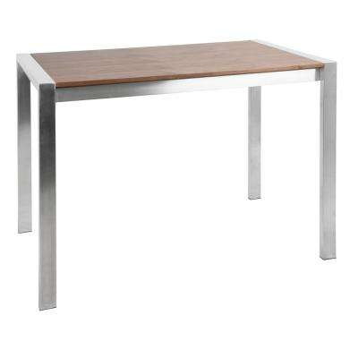 Fuji Walnut and Brushed Stainless Steel Rectangular Contemporary Counter Table
