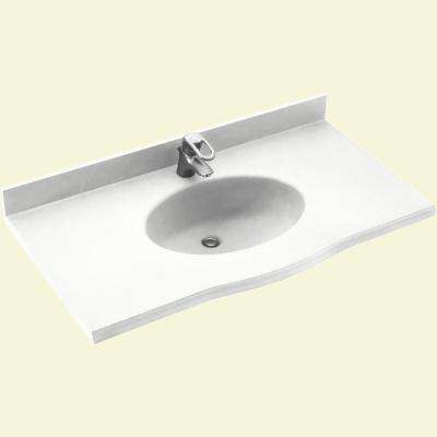Europa 43 in. W x 22.5 in. D Solid Surface Vanity Top with Sink in White