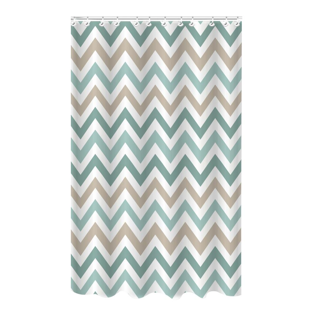 Bath Bliss Bamboo 72 In Multi Colored Polyester Chevron Spa Blue Shower Curtain 25883 The