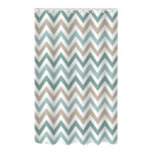 Bath Bliss Bamboo 72 inch Multi-Colored Polyester Chevron Spa Blue Shower Curtain by Bath Bliss