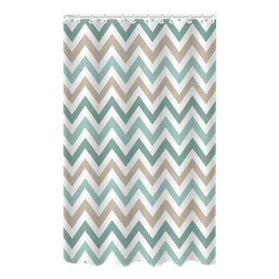 Bamboo 72 in. Multi-Colored Polyester Chevron Spa Blue Shower Curtain