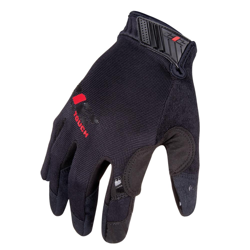 Enhanced Grip Touchscreen Compatible Work Gloves, Black