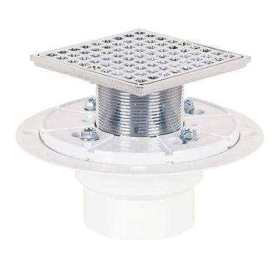 2 in. PVC Square-Head Shower Pan Drain in Chrome