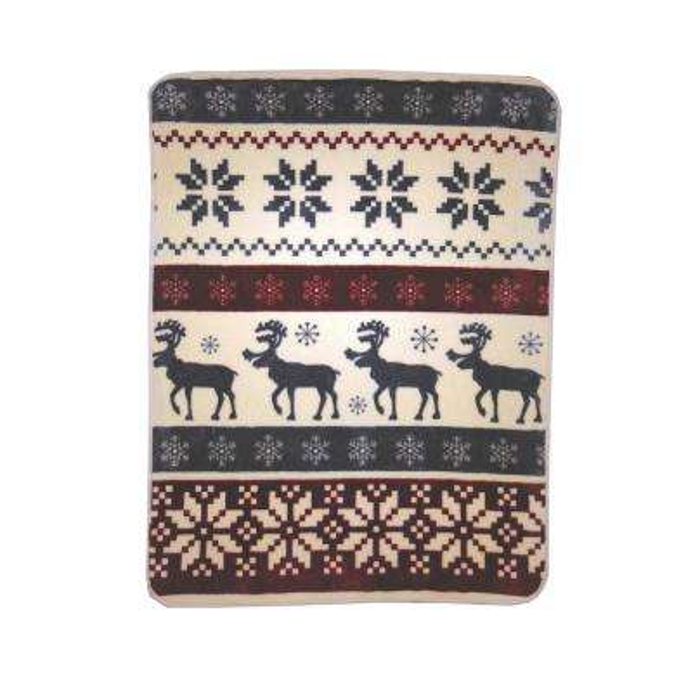 High Pile Reindeer Stripe Raschel Knit Throw