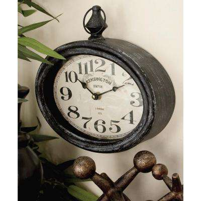2 Assorted 12 in. x 11 in. Antique Reproduction Style Oval Wall Clocks