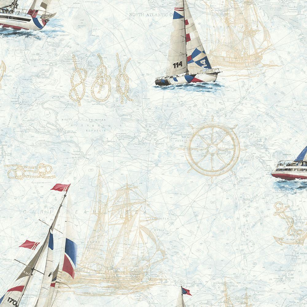 York Wallcoverings Sailboat Toile Wallpaper Ac6136 The