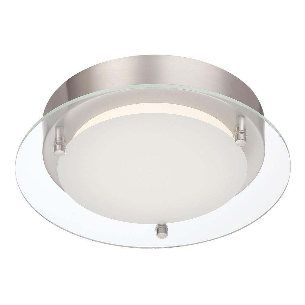 14-Watt 9.5 in. Edge Lit Polished Nickel Integrated LED Flush Mount