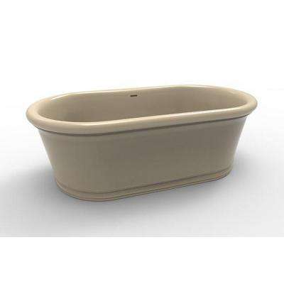 Tribeca 5.8 ft. Solid Surface Flatbottom Non-Whirlpool Freestanding Bathtub in Almond