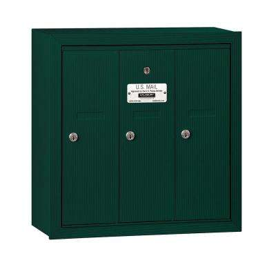 3500 Series Green Surface-Mounted Private Vertical Mailbox with 3 Doors