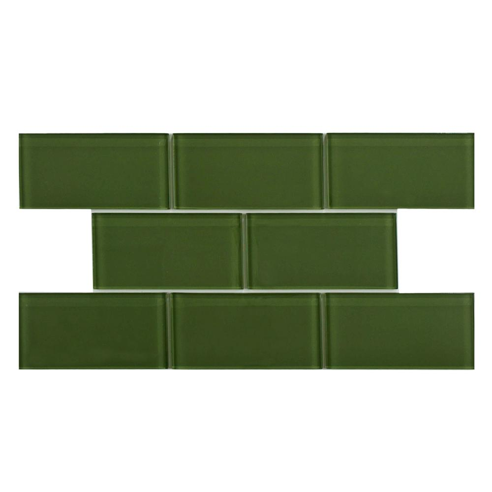 Merola Tile Tessera Subway Sage 3 in. x 6 in. Glass Wall Tile (1 sq. ft. / pack)