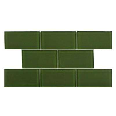 Tessera Subway Sage 3 in. x 6 in. Glass Wall Tile (1 sq. ft. / pack)
