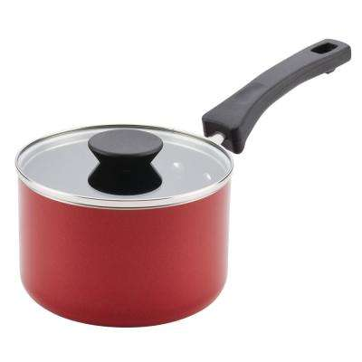 Neat Nest 2 Qt. Space Saving Aluminum Nonstick Covered Saucepan in Red