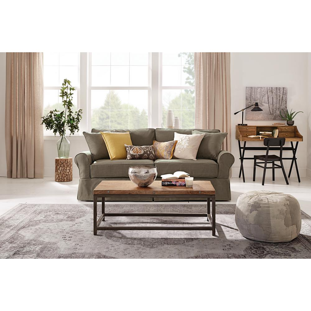 home decorators collection mayfair classic smoke twill fabric sofa 1640000280 the home depot. Black Bedroom Furniture Sets. Home Design Ideas