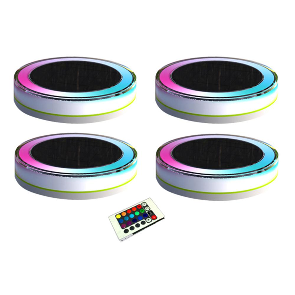 4 Light White Plastic Outdoor Deco Led Rgb Swimming Pool Waterproof Fun With Remote Control