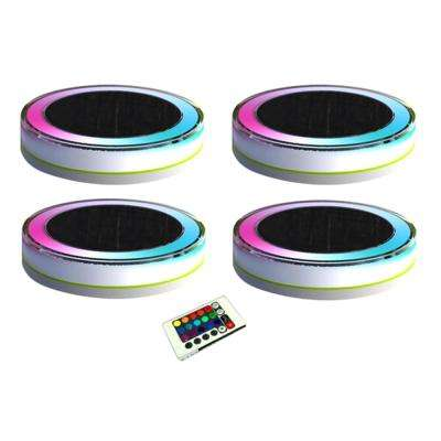 4-Light White Plastic Outdoor Deco LED RGB Swimming Pool Waterproof Fun Light with Remote Control