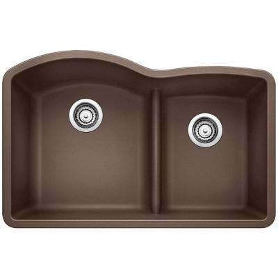 Diamond Undermount Granite Composite 32 in. 0-Hole with Low-Divide Double Bowl Kitchen Sink in Cafe Brown