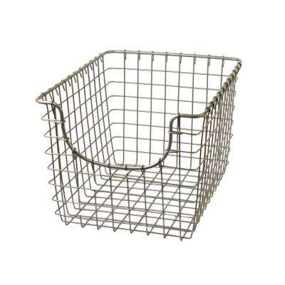 Scoop 9.75 in. W x 12.75 in. D x 8 in. H Small Basket in Satin Nickel Powder Coat