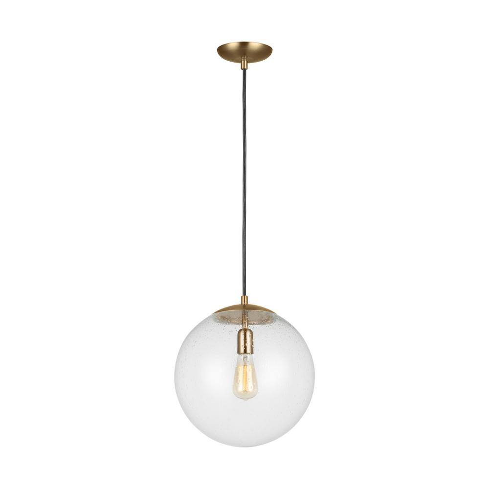 Sea gull lighting leo hanging globe 14 in 1 light satin bronze pendant with clear seeded glass shade