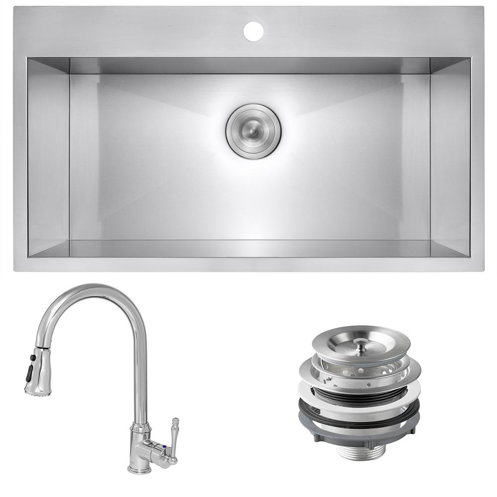 Golden Vantage Handmade All-in-One Stainless Steel 33 in. x 22 in. Single Bowl Drop-in Kitchen Sink and Pull-down Kitchen Faucet, Brushed Stainless was $459.0 now $299.99 (35.0% off)