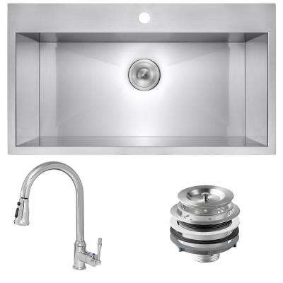 Handmade All-in-One Stainless Steel 33 in. x 22 in. Single Bowl Drop-in Kitchen Sink and Pull-down Kitchen Faucet