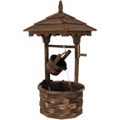 48 in. Old-Fashioned Wood Wishing Well Outdoor Water Fountain