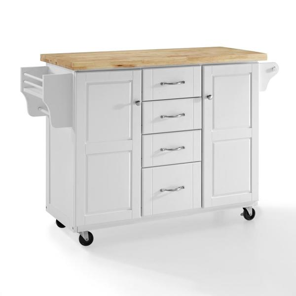 Crosley Elliott Kitchen Cart in White with Natural Top CF3018WH-NA