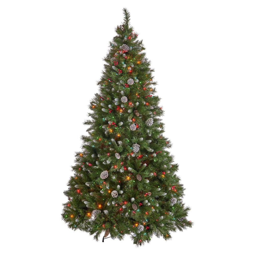 Noble House 7 ft. Pre-Lit Mixed Spruce Hinged Artificial ...