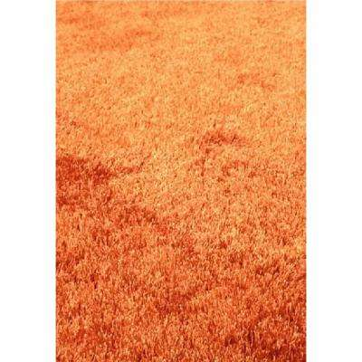 """""""Fuzzy Shaggy"""" Hand Tufted Area Rug in Rust (5-ft x 7-ft)"""