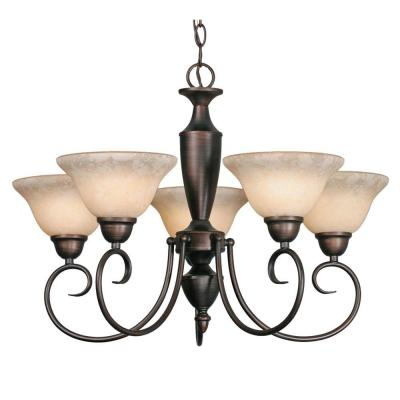 Yvette Collection 5-Light Rubbed Bronze Chandelier