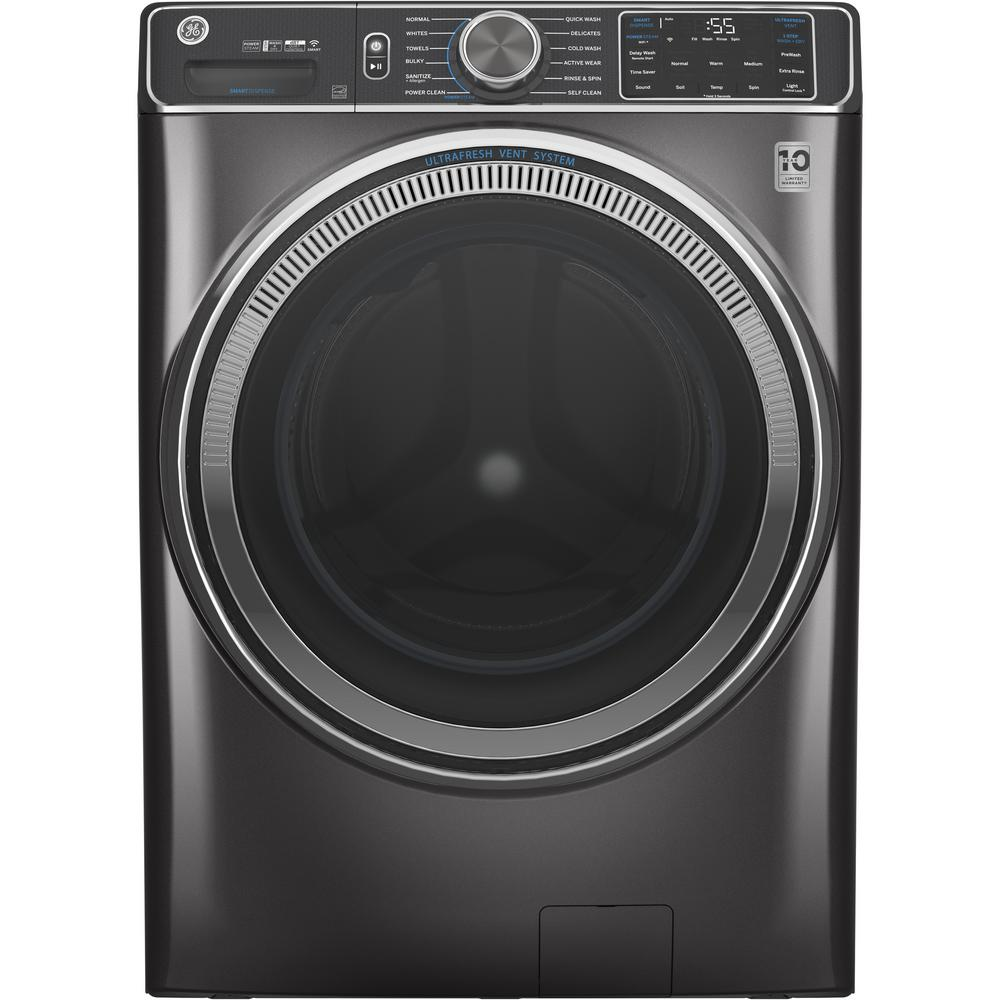 GE 5.0 cu. ft. Diamond Gray Front Load Washing Machine with OdorBlock UltraFresh Vent System with Sanitize and Allergen