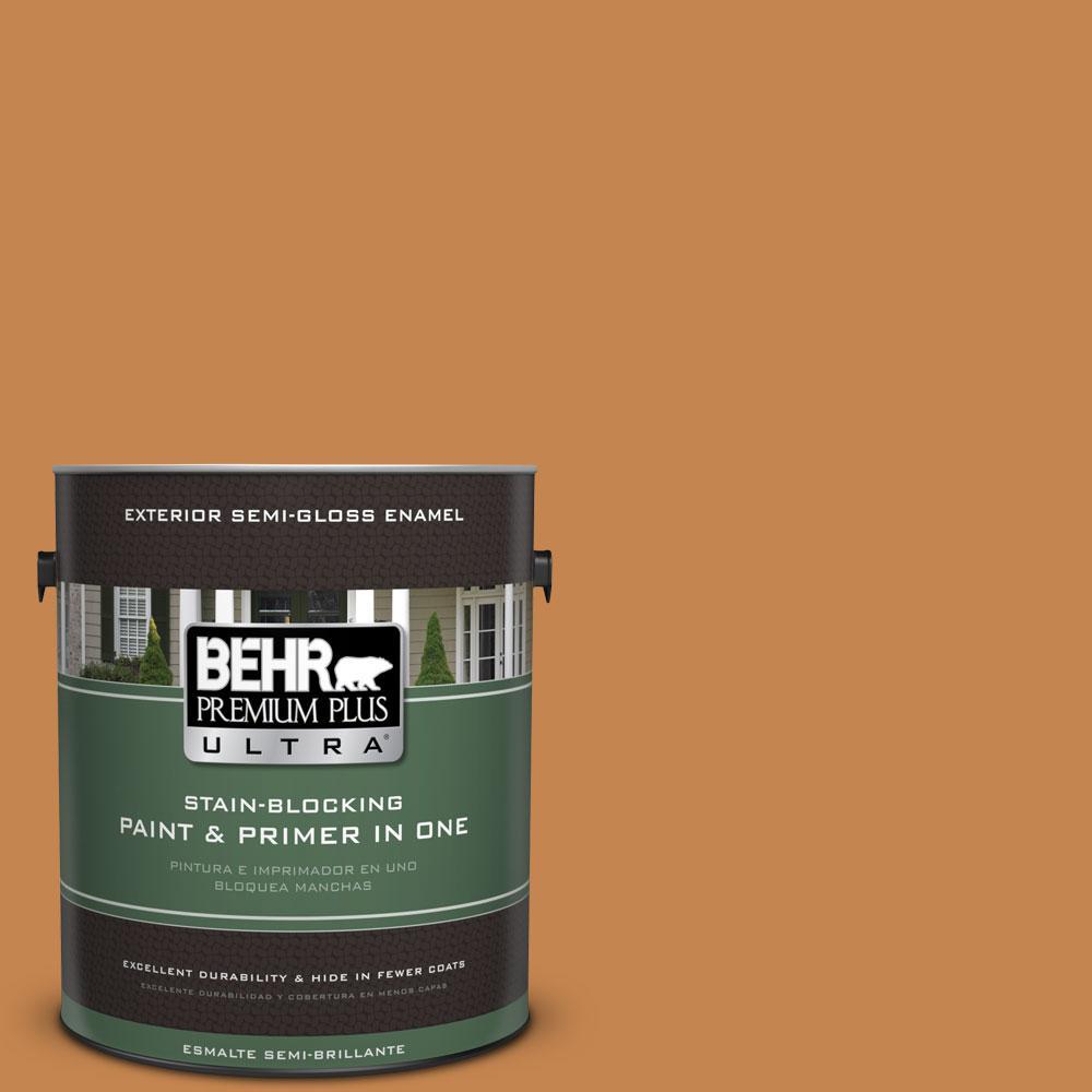 BEHR Premium Plus Ultra 1-gal. #PPU4-3 Butter Rum Semi-Gloss Enamel Exterior Paint
