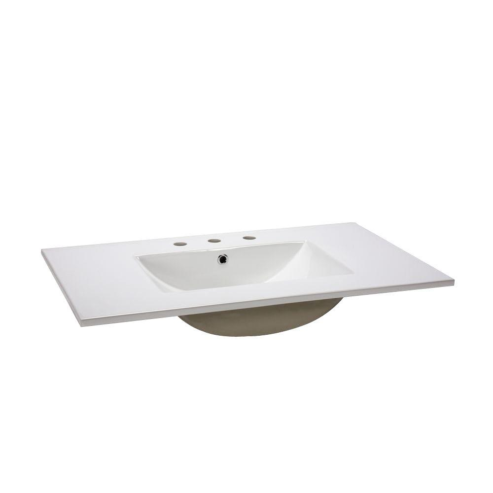 RYVYR 25 in. Vitreous China Vanity Top in White with 8 in. 3 Hole Faucet Drilling
