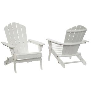 Lattice Folding White Outdoor Adirondack Chair (2-Pack) by