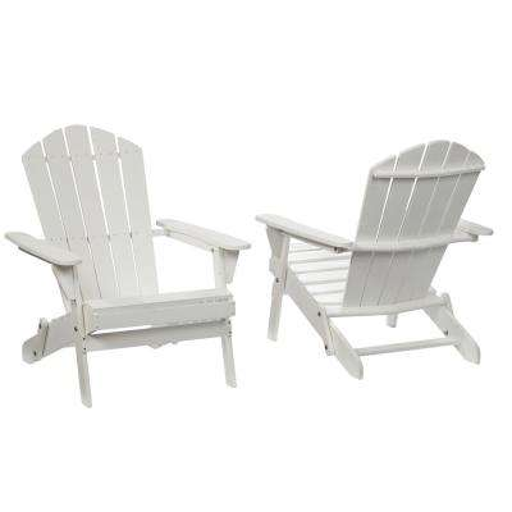 Lattice Folding White Outdoor Adirondack Chair (2-Pack)