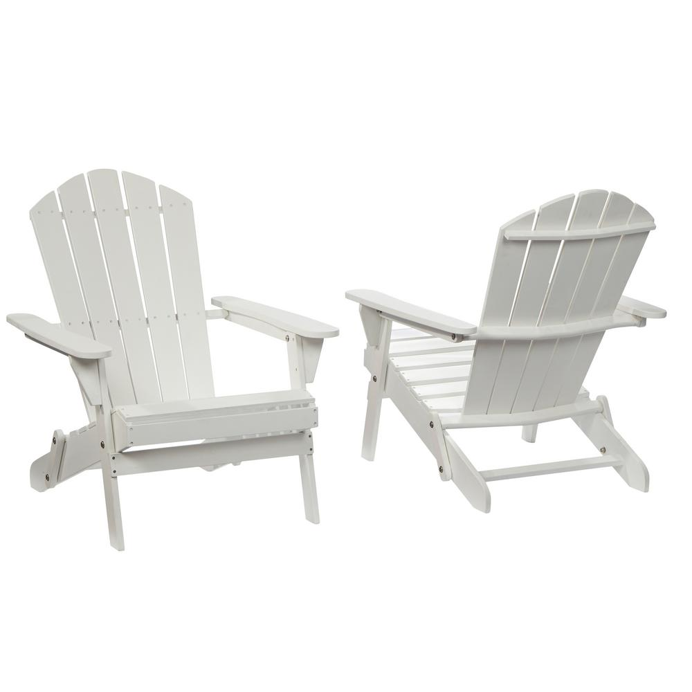 Hampton Bay Lattice Folding White Outdoor Adirondack Chair (2 Pack)