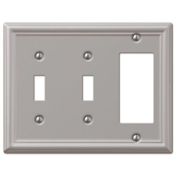 Ascher 3 Gang 2-Toggle and 1-Rocker Steel Wall Plate - Brushed Nickel