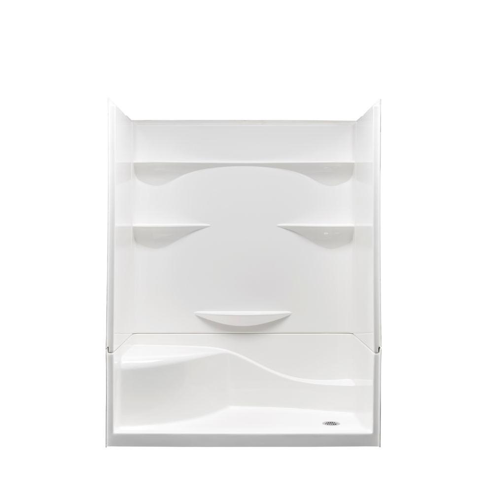 Aquatic Remodeline 30 In. X 60 In. X 76 In. Right Drain Left Seat Gelcoat Shower  Stall In White 160304PSR WH   The Home Depot