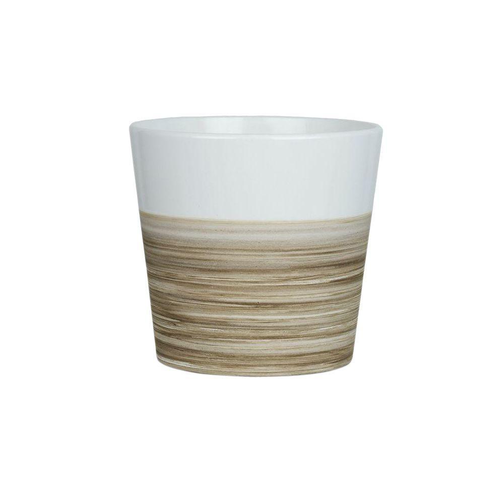 7.75 in. Small White Ceramic Bamboo Pot