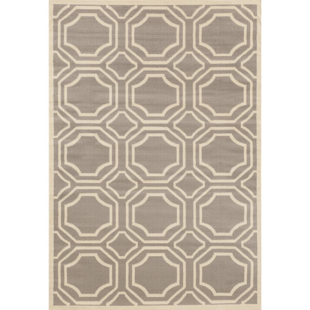 World rug gallery modern geometric gray 7 ft 6 in x 9 ft for Geometric print area rugs