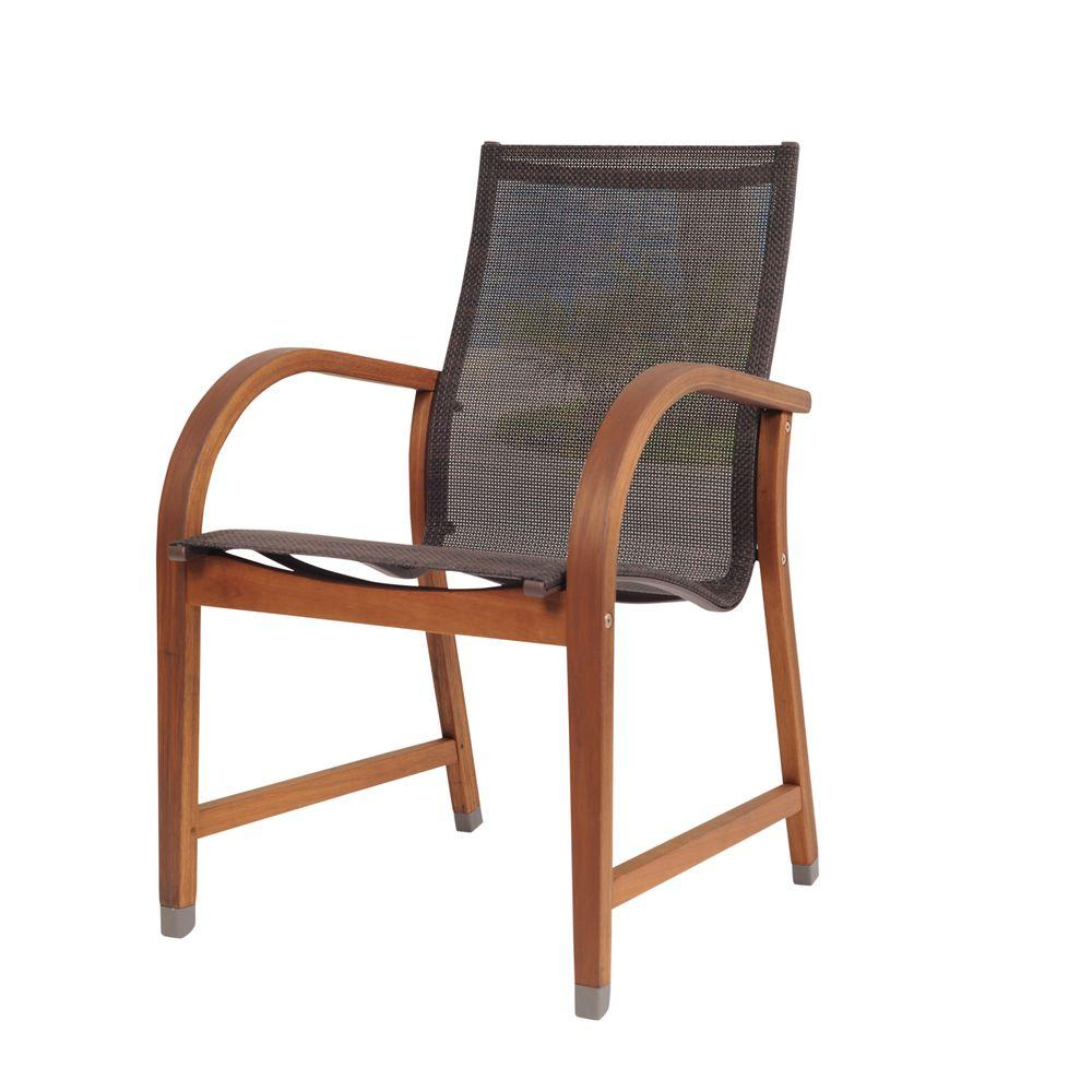 Bahamas Brown Sling Patio Dining Chair (4-Pack)