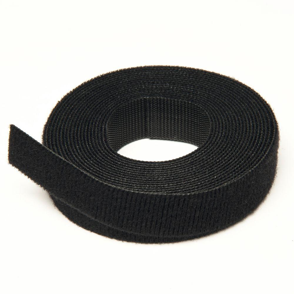"""Black VELCRO® Brand Reusable ONE-WRAP® Strap Dbl Sided 4/"""" x12ft"""