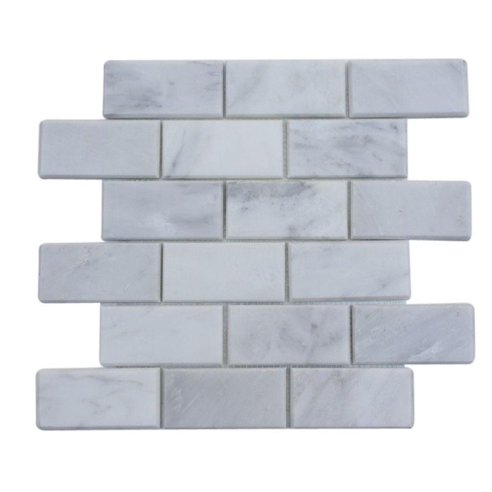 Splashback Tile Oriental 12 in. x 12 in. x 8 mm Marble Floor and ...