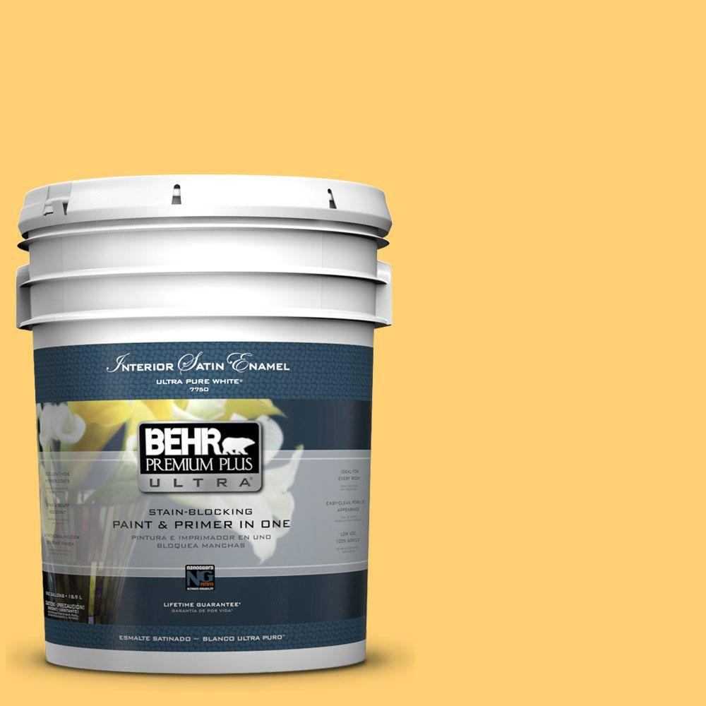 5-gal. #320B-6 Mellow Yellow Satin Enamel Interior Paint