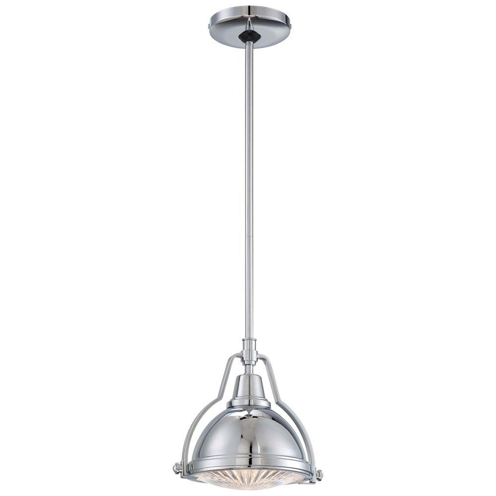 Home Decorators Collection 1-Light Brushed Nickel Mini Pendant with Shade and Clear Ribbed Glass